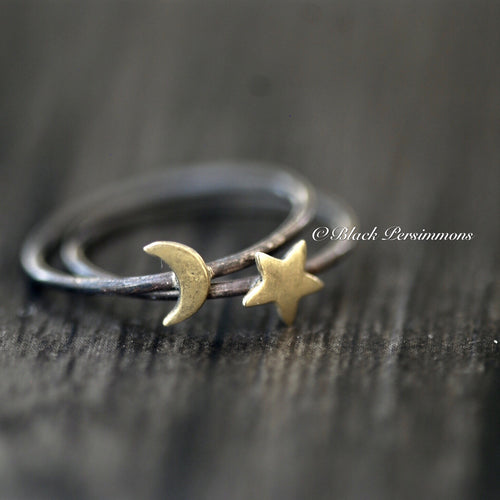 Moon and Star Ring Set - Oxidized Patina Solid 925 Sterling Silver & Bronze