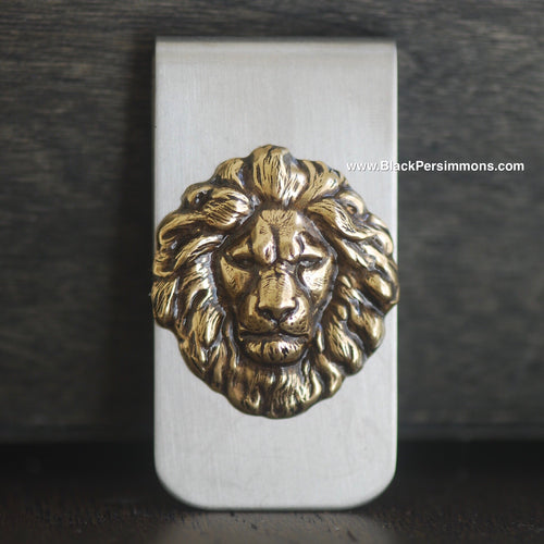 The Lion Money Clip - Antique Gold Plated Brass Stamping - Stainless Steel Clip