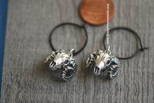 Ovis Canadensis Nelsoni Hoop Earrings - Solid 925 Sterling Silver Bighorn Sheep Skull Pendants