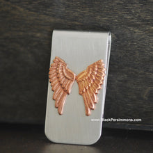 Dainty Angel Wings Money Clip - Rose Copper Oxidized Brass Stamping - Stainless Steel Clip