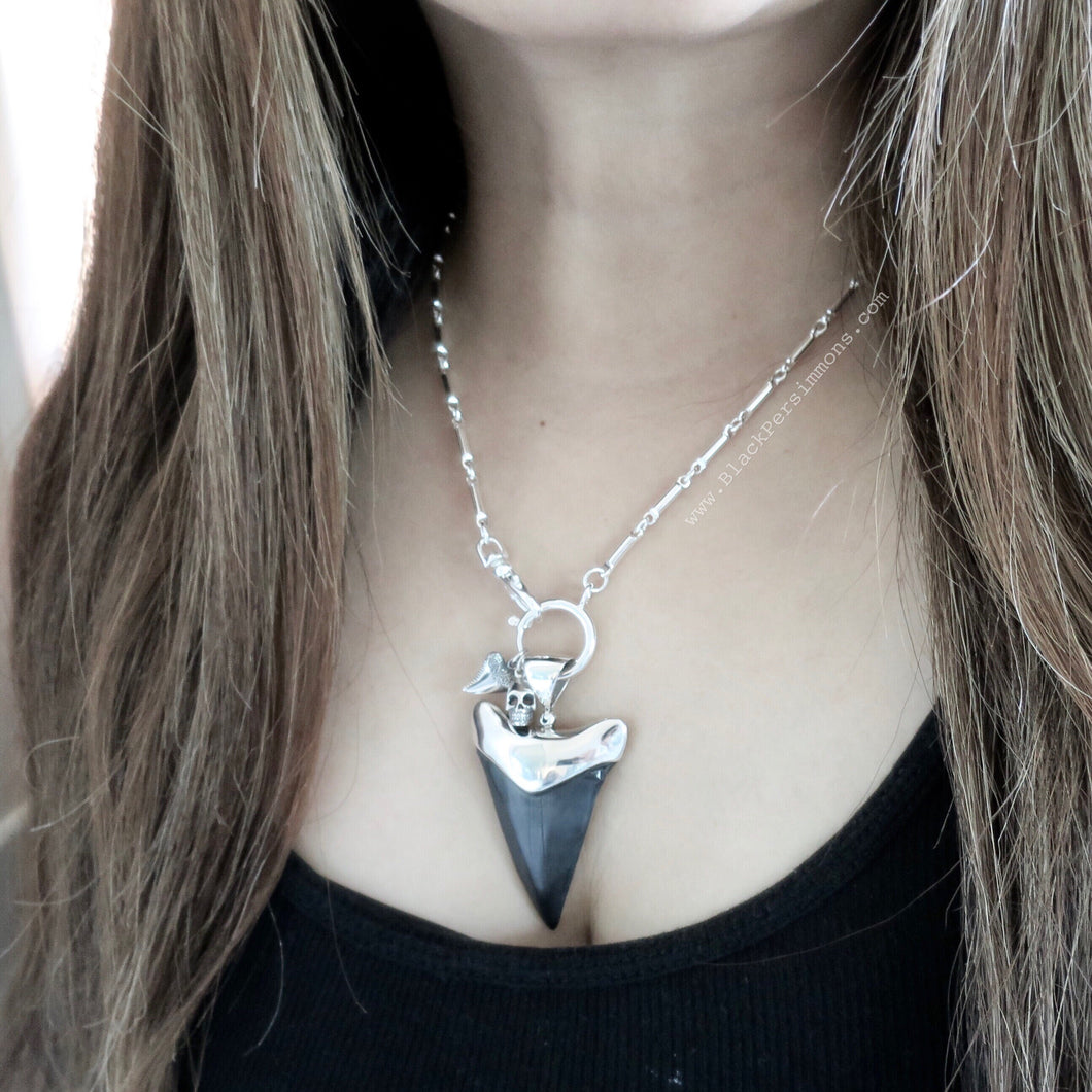 Mako Shark Tooth Fossil Pendant Necklace - Solid 925 Sterling Silver Capped Pendant