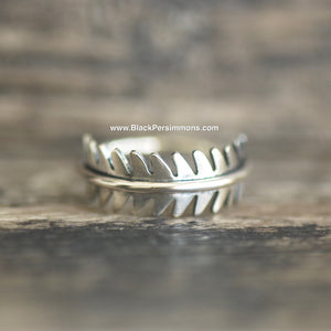 Fern Leaf Ring - Solid 925 Sterling Silver - Size 6, 7, 8 & 9