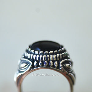 SELENE Onyx Dragonfly Ring - Solid 925 Sterling Silver