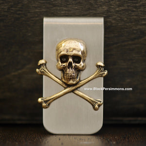 Jolly Roger Money Clip - Skull Cross Bones Antique Gold Plated Brass Stamping - Stainless Steel Clip