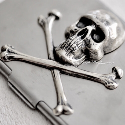 Lady Delahaye Skull Crossbones Stainless Steel Business Card Case Box