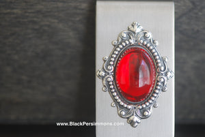 Victorian Goth Vintage Red Swarovski Money Clip - Antique Sterling Silver Plated Brass Stamping - Stainless Steel Clip