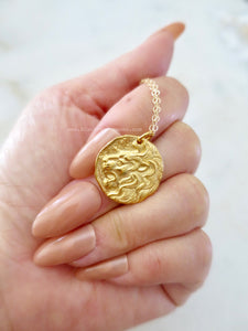 Ancient Lion Head Coin Pendant Necklace - Satin 24k Gold Plated Bronze