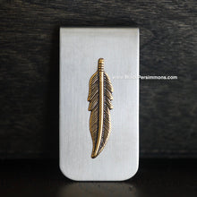 Dainty Feather Money Clip - Antique Gold Plated Brass Stamping - Stainless Steel Clip