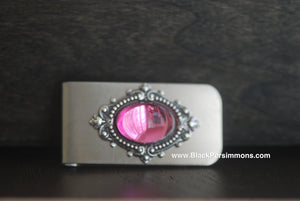 Victorian Goth Vintage Pink Swarovski Money Clip - Antique Sterling Silver Plated Brass Stamping - Stainless Steel Clip