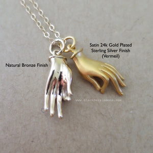 Hand Mudra Charm Necklace - Satin 24k Gold Plated Sterling Silver