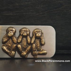 Three Wise Monkeys Money Clip - Brass Oxidized Stamping - Stainless Steel Clip