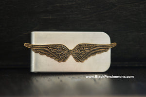 Double Angel Wings Money Clip - Brass Oxidized Stamping - Stainless Steel Clip