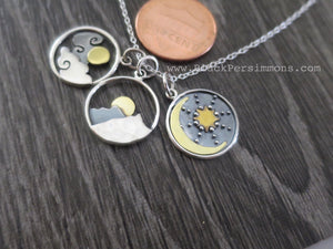 Cloud with Bronze Sun Charm Necklace - Solid 925 Sterling Silver