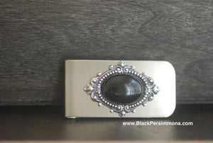 Victorian Goth Black Onyx Money Clip - Antique Sterling Silver Plated Brass Stamping - Stainless Steel Clip