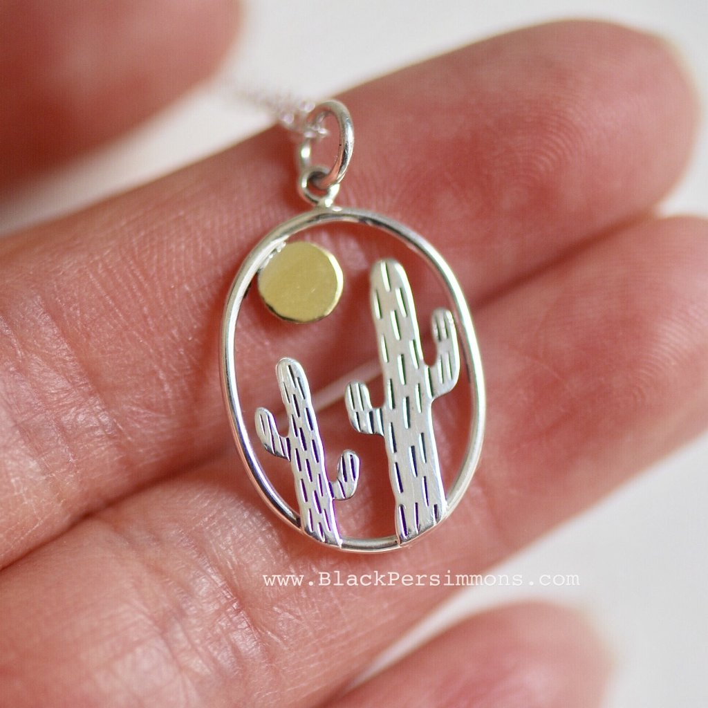 Oval Cactus with Bronze Sun Pendant Necklace - Solid 925 Sterling Silver.