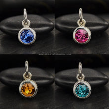 September Sapphire Swarovski Crystal Birthstone Charm Necklace - Solid 925 Sterling Silver