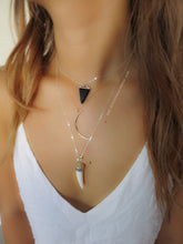 Tribal Hand Carved Tooth Cowbone Pendant Necklace - Solid 925 Sterling Silver