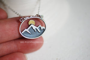 Oval Mountain with Bronze Sun Pendant Necklace - Solid 925 Sterling Silver