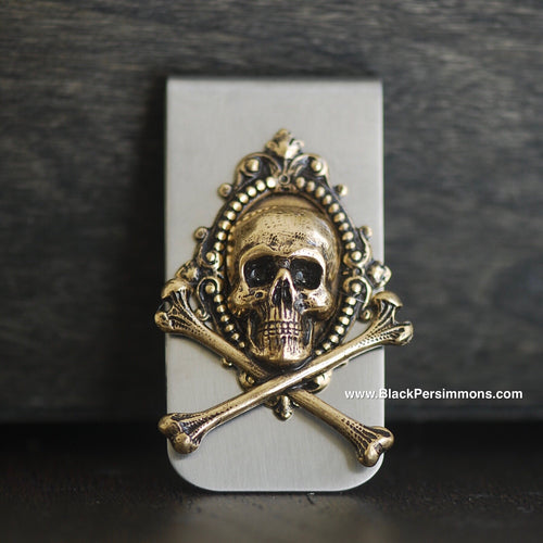 Sumatra Money Clip - Skull Cross Bones Antique Gold Plated Brass Stamping - Stainless Steel Clip
