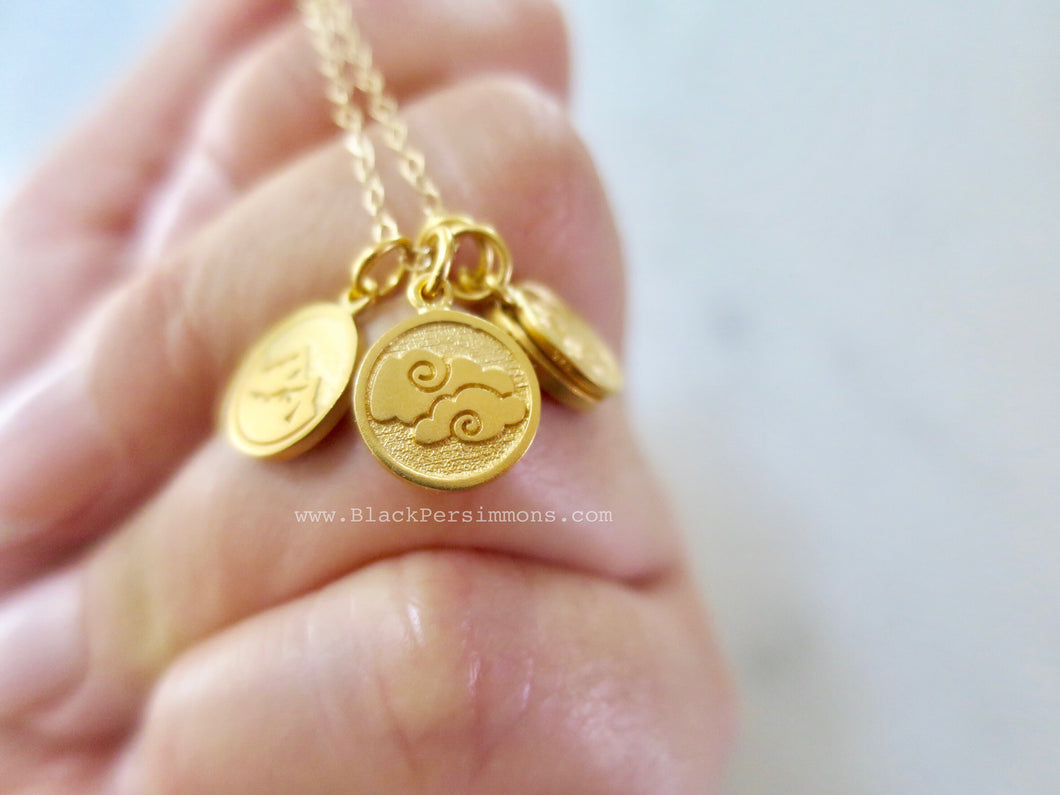 Air Element Charm Necklace - Satin 24k Gold Plated Sterling Silver