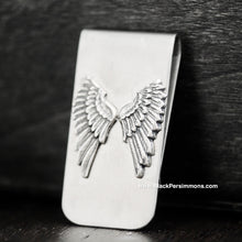 Dainty Angel Wings Money Clip - Antique Sterling Silver Plated Brass Stamping - Stainless Steel Clip