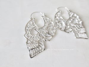 Day of the Dead Sugar Skull Tribal Filigree Hoop Earrings - Solid 925 Sterling Silver