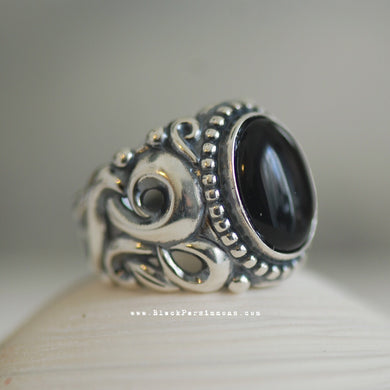 EIRENE Onyx Swirl Ring - Solid 925 Sterling Silver
