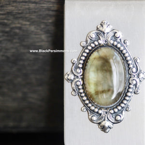 Victorian Goth Labradorite Money Clip - Antique Sterling Silver Plated Brass Stamping - Stainless Steel Clip