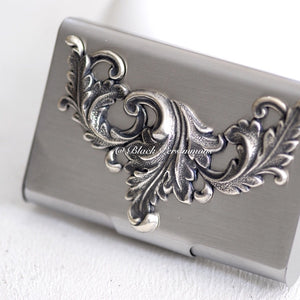 Leaf Swag Stainless Steel Business Card Case Box