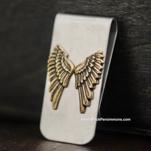Dainty Angel Wings Money Clip - Brass Oxidized Stampings - Stainless Steel Clip