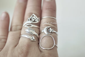 Adjustable Moon and Star Ring - Solid 925 Sterling Silver