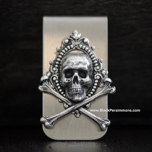 Sumatra Money Clip - Skull Cross Bones Antique Sterling Silver Plated Brass Stamping - Stainless Steel Clip