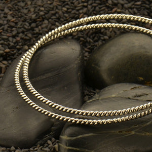 Twisted Wire Bangle Bracelet - Solid 925 Sterling Silver