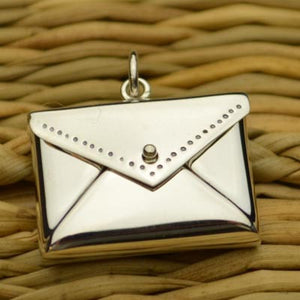 Envelope Locket Pendant Necklace - Solid 925 Sterling Silver