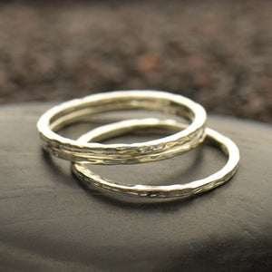 Hammered Stacking Ring - Satin 24k Gold Plated Sterling Silver - Size 6, 7, & 8