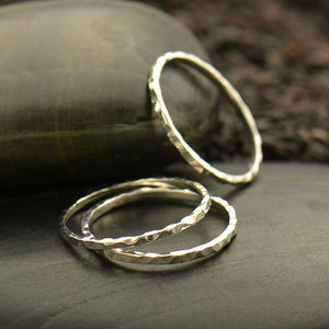 Hammered Midi Knuckle Stacking Ring - Solid 925 Sterling Silver - Size 3 & 4