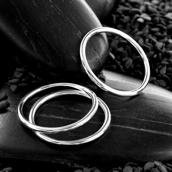 Plain Round Stacking Ring - Solid 925 Sterling Silver - Size 6, 7, 8, & 9