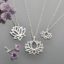 Lotus Flower Bloom Charm Necklaces - Solid 925 Sterling Silver