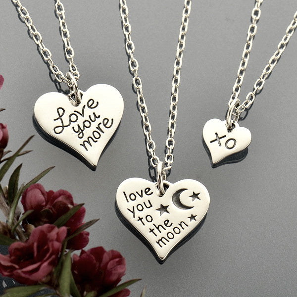 XO Heart Charm Necklaces - Solid 925 Sterling Silver