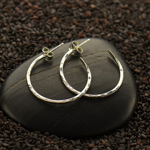 Small Hammered Hoop Finding Earrings - Solid 925 Sterling Silver
