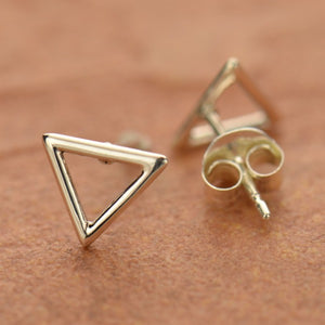 Open Triangle Post Earrings - Solid 925 Sterling Silver
