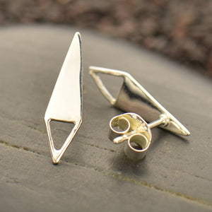 Triangle Post Earrings with Open Triangle Loop - Solid 925 Sterling Silver
