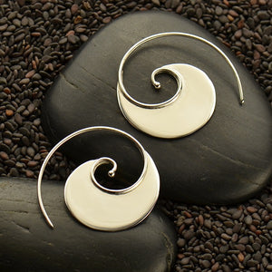 Wave Hoop Earrings - Solid 925 Sterling Silver