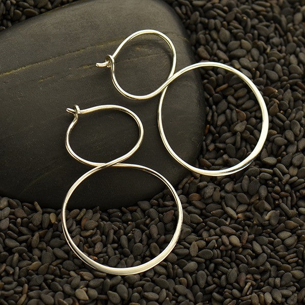 Infinity Hoops Earrings - Solid 925 Sterling Silver