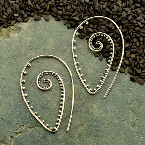 Hook with Pointed Spiral and Granulation Earrings - Solid 925 Sterling Silver