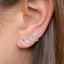 Leaf Ear Climbers - Geometric Jewelry - Solid 925 Sterling Silver