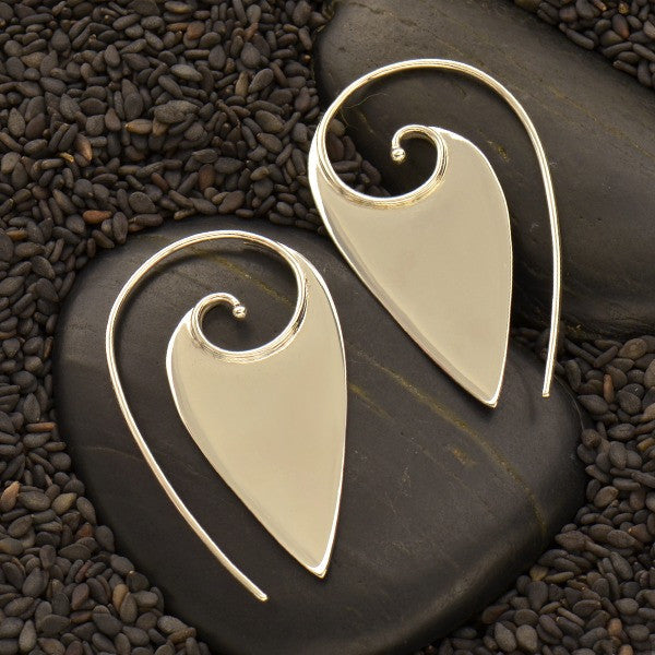 Pointed Spiral Earrings - Solid 925 Sterling Silver