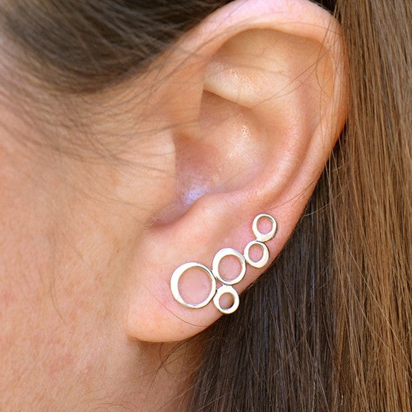 Bubble Ear Climbers - Minimalist Jewelry - Solid 925 Sterling Silver