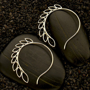 Fern Hook Earrings - Solid 925 Sterling Silver