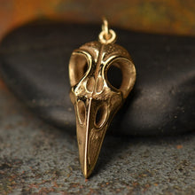 Aves Bird Skull Pendant Necklace - Natural Bronze